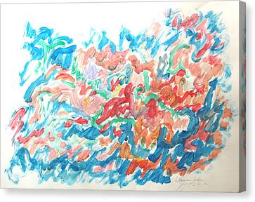 Canvas Print featuring the painting Feast Of Blue And Red by Esther Newman-Cohen