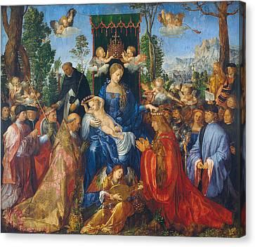 Feast Of Rose Garlands Canvas Print by Albrecht Durer