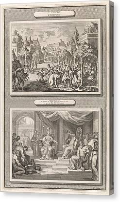 Feast Of Tabernacles And Solomon And The Queen Of Sheba Canvas Print by Jan Luyken And Hendrik Elandt And Pieter Mortier