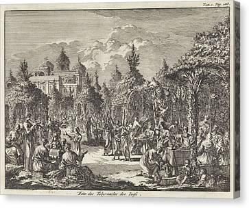 Feast Of Tabernacles, Jan Luyken, Pieter Mortier Canvas Print by Jan Luyken And Pieter Mortier