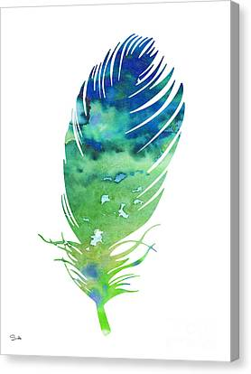 Feather 3 Canvas Print by Watercolor Girl