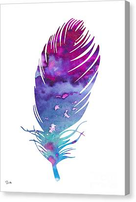 Feather 4 Canvas Print by Watercolor Girl
