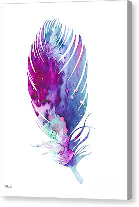 Feather 6 Canvas Print by Watercolor Girl