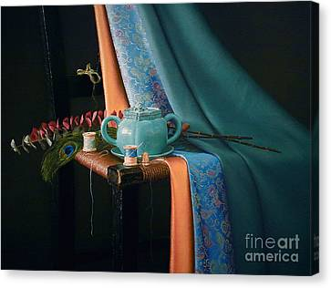 Feather And Threads Canvas Print by Barbara Groff