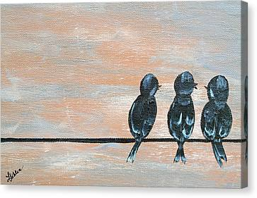 Feathered Friends Canvas Print by Linda Fehlen