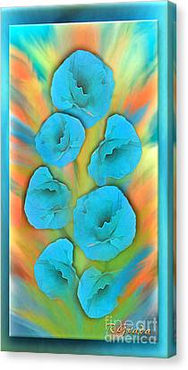 Feathered Turquoise Poppies Canvas Print