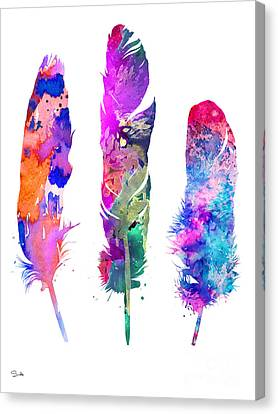Feathers Canvas Print - Feathers 3 by Watercolor Girl