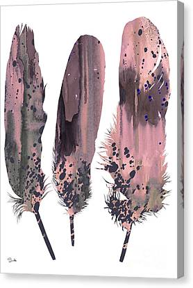 Feathers 6 Canvas Print by Watercolor Girl