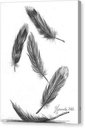 Canvas Print featuring the drawing Feathers For A Friend by J Ferwerda