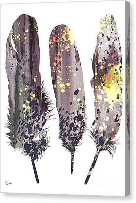 Feathers Canvas Print by Watercolor Girl