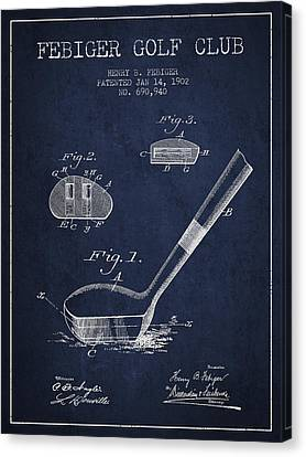 Febiger Golf Club Patent Drawing From 1902 - Navy Blue Canvas Print