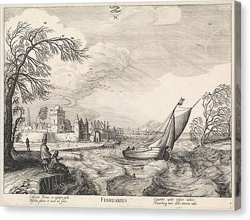 Stormy Weather Canvas Print - February, Jan Van De Velde II by Jan Van De Velde (ii) And Claes Jansz. Visscher (ii)