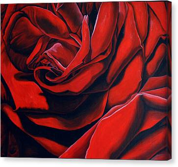 Canvas Print featuring the painting February Rose by Thu Nguyen