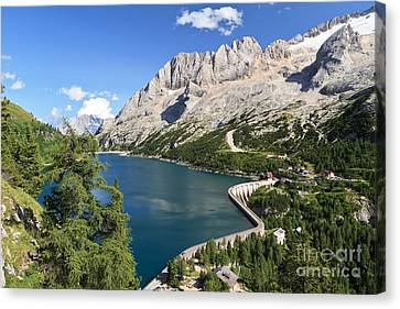 Canvas Print featuring the photograph Fedaia Pass With Lake by Antonio Scarpi