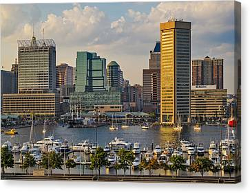 Federal Hill View To The Baltimore Skyline Canvas Print by Susan Candelario