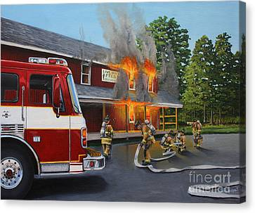 Feed Store Fire Canvas Print by Paul Walsh
