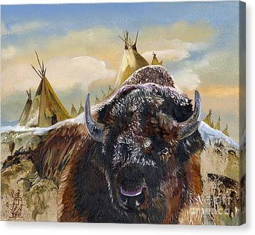 Feed The Fire Canvas Print by J W Baker