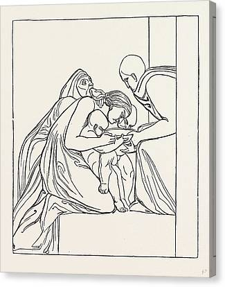Feed The Hungry From A Bas-relief Of John Flaxman Canvas Print by English School