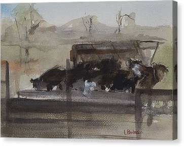 Canvas Print - Feeding Cows by Lynne Bolwell