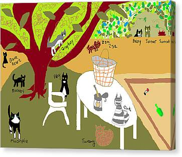 Feeding The Cats At The Park Canvas Print by Anita Dale Livaditis