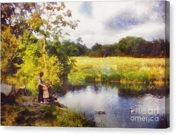 Feeding The Ducks Canvas Print by Pixel Chimp
