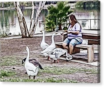 Feeding The Geese Canvas Print by Photographic Art by Russel Ray Photos