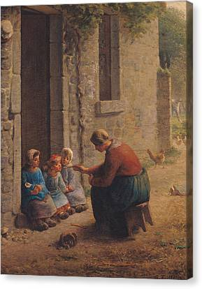 Feeding The Young Canvas Print by Jean-Francois Millet