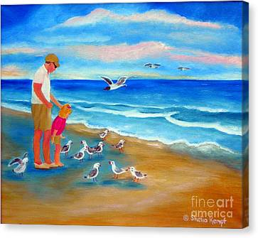 Canvas Print featuring the painting Feeding Time by Shelia Kempf