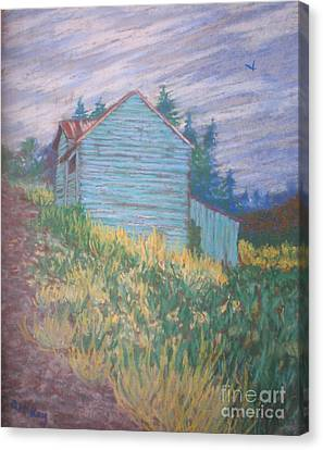 Canvas Print featuring the painting Feelin' Blue In Troutdale by Suzanne McKay