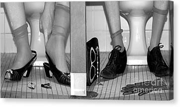 Feet In Toilet Stalls Canvas Print by Novastock