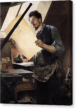 Felicien Rops 1833-98 In His Studio Oil On Canvas Canvas Print by Paul Mathey