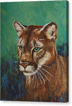 Canvas Print featuring the painting Feline Alert by Margaret Saheed