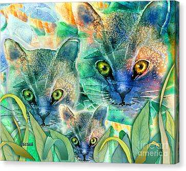 Canvas Print featuring the painting Feline Family by Teresa Ascone