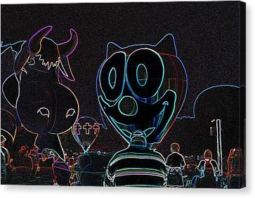 Felix And The Cow In Neon Canvas Print