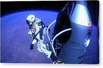 Felix Baumgartner Jumping From Capsule Canvas Print by Science Photo Library