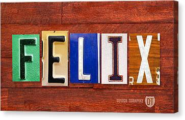 Felix License Plate Name Sign Fun Kid Room Decor Canvas Print by Design Turnpike