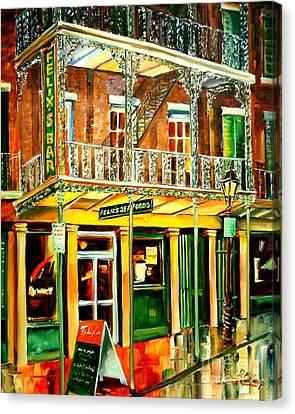 City Streets Canvas Print - Felixs Oyster Bar by Diane Millsap