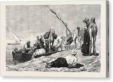 Dendera Canvas Print - Fellah Ferry Between Keneh And Dendera by Litz Collection