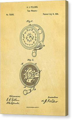 Quilter Canvas Print - Fellows Tape Measure Patent Art 1868 by Ian Monk