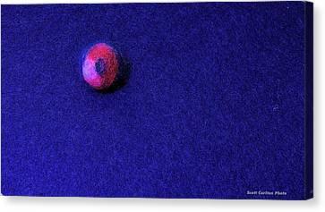 Felt Ball On Blue Felt Canvas Print