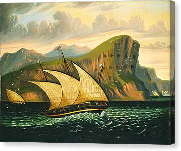 Felucca Off Gibraltar Canvas Print by Thomas Chambers
