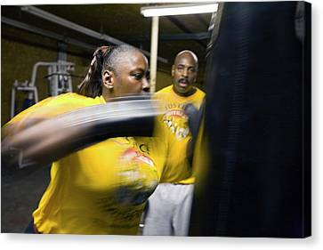 Female Boxer Training Canvas Print by Jim West