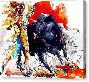 Canvas Print featuring the painting Female Bullfighter by Steven Ponsford