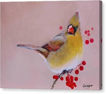 Female Cardinal Canvas Print by Jean Yves Crispo