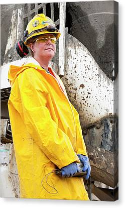 Female Construction Worker Canvas Print by Ashley Cooper