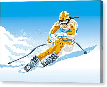 Female Downhill Skier Winter Sport Canvas Print