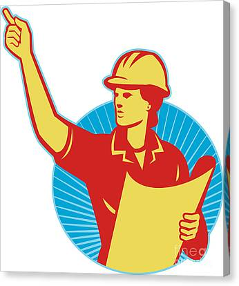 Female Engineer Construction Worker Pointing Retro Canvas Print by Aloysius Patrimonio