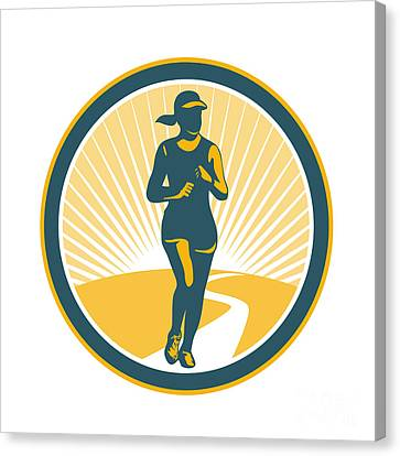 Female Marathon Runner Circle Retro Canvas Print