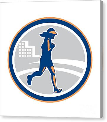 Female Marathon Runner City Retro Canvas Print