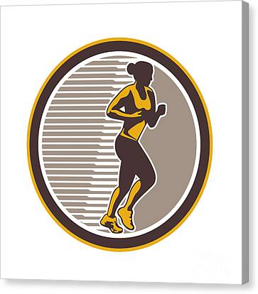 Female Marathon Runner Side View Retro Canvas Print